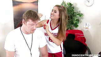 Stupefying brown-haired Katie Sands is gently squeezing her milk jugs around stranger's cock