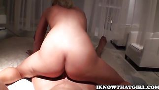 Alluring Jamey Janes gets on her knees and sucks a sausage