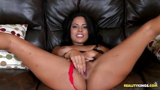 Savory latin perfection Luna Star feels her bf unfathomable fucking her tiny pussy