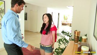 Sweet brown-haired Aurora Monroe receives a jock in her pussy