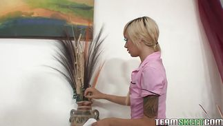 Sassy blond Emma Mae gags and gets drilled by her strong male