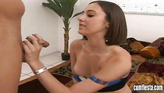 Sexy brown-haired bombshell Carolyn is getting banged with her legs spread wide and enjoying it a lot