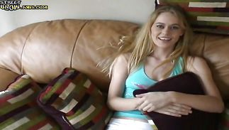 Awesome blond girlie Crissy blows a massive phallus like a pro