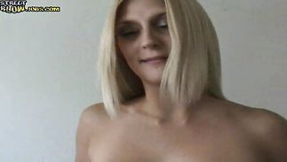 Lascivious blond hottie Jennai fiercely rides lover's throbbing meat rocket