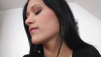 Raunchy young dark-haired gf Nicole bows over and receives a thorough banging
