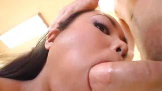 Sugary oriental girlie Kirstin whimpers on a thick and long large cock