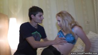 Swingeing teen darling Amber Daikiri with moist pussy receives a large and hard tool
