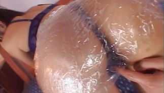 Aroused lady is lewd and gets on her hot knees