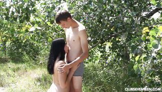 Playsome dark-haired Viki A enjoys riding a large and pulsating penis