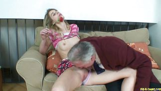 Slutty barely legal angel Rowena gets drilled by her horny man