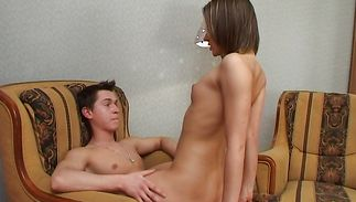 Buddy prepares the cunning young babe for a fuck session